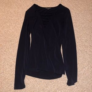 Express Lace Up Front Long Sleeved Top